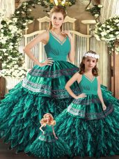 Spectacular Sleeveless Organza Floor Length Backless Quinceanera Gowns in Turquoise with Appliques and Ruffles