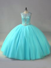 Modern Aqua Blue Organza Lace Up Quinceanera Gowns Sleeveless Beading