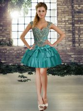 Mini Length Lace Up Winning Pageant Gowns Teal for Prom and Party with Beading