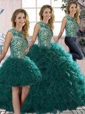 Peacock Green Organza Lace Up Quince Ball Gowns Sleeveless Floor Length Beading and Ruffles
