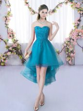 Tulle Sweetheart Sleeveless Lace Up Lace Quinceanera Court of Honor Dress in Teal