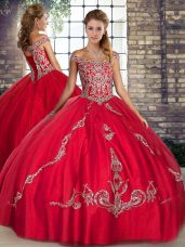 Fashionable Floor Length Red Sweet 16 Dress Off The Shoulder Sleeveless Lace Up
