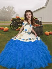 Elegant Blue Ball Gowns Straps Sleeveless Organza Floor Length Lace Up Embroidery and Ruffles Girls Pageant Dresses