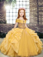 High Class Gold Sleeveless Beading and Ruffles Floor Length Kids Formal Wear