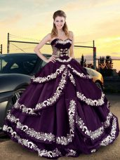 Custom Design Floor Length Ball Gowns Sleeveless Purple 15th Birthday Dress Lace Up