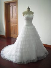 White Sweetheart Neckline Beading and Ruffled Layers Wedding Gown Sleeveless Lace Up