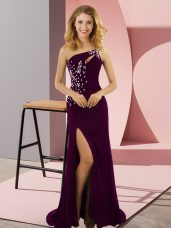 Fabulous Dark Purple Column/Sheath Elastic Woven Satin One Shoulder Sleeveless Beading Lace Up Dress for Prom Sweep Train