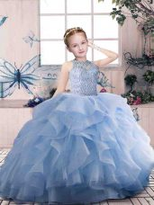 Eye-catching Scoop Sleeveless Zipper Pageant Gowns For Girls Lavender Organza