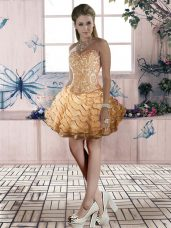 Sleeveless Organza Mini Length Lace Up Junior Homecoming Dress in Gold with Beading and Lace and Ruffled Layers