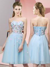 Top Selling Knee Length Empire Sleeveless Light Blue Dama Dress for Quinceanera Lace Up