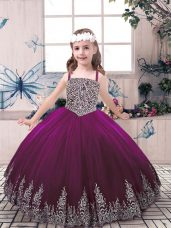 Eggplant Purple Tulle Lace Up Straps Sleeveless Floor Length Little Girls Pageant Gowns Beading and Embroidery