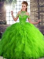 Unique Floor Length Ball Gowns Sleeveless Green Sweet 16 Dress Lace Up