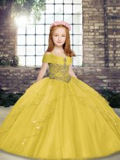 Ball Gowns Little Girls Pageant Gowns Yellow Straps Tulle Sleeveless Floor Length Lace Up