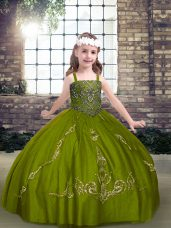 Olive Green Pageant Dress Wholesale Party and Military Ball and Wedding Party with Beading Straps Sleeveless Lace Up