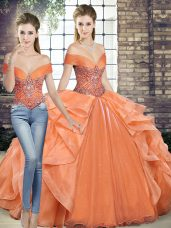 Graceful Off The Shoulder Sleeveless Quinceanera Gowns Floor Length Beading and Ruffles Orange Organza