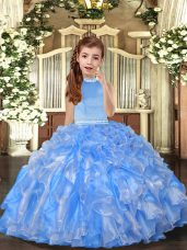 Baby Blue Kids Pageant Dress Party and Sweet 16 and Wedding Party with Beading and Ruffles Halter Top Sleeveless Backless