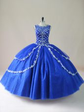 Best Royal Blue Scoop Zipper Beading Quince Ball Gowns Sleeveless