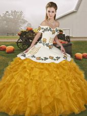 Exceptional Sleeveless Floor Length Embroidery and Ruffles Lace Up Quinceanera Gown with Gold
