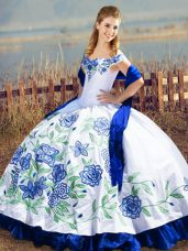 Blue And White Ball Gowns Embroidery and Ruffles Vestidos de Quinceanera Lace Up Satin and Organza Sleeveless Floor Length