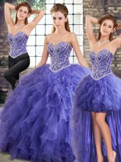Excellent Lavender Sleeveless Beading and Ruffles Floor Length Quince Ball Gowns
