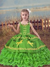 Glorious Little Girl Pageant Dress Wedding Party with Beading and Embroidery and Ruffled Layers Straps Sleeveless Lace Up
