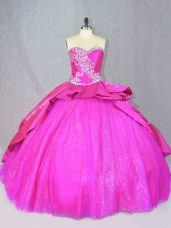 Lace Up Quince Ball Gowns Hot Pink for Sweet 16 and Quinceanera with Beading and Embroidery Court Train