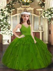 Olive Green Ball Gowns Tulle Straps Sleeveless Ruffles Floor Length Zipper Little Girls Pageant Dress Wholesale