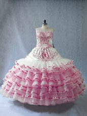 Pink And White Sweetheart Neckline Embroidery and Ruffled Layers and Bowknot Quinceanera Dresses Sleeveless Lace Up