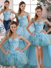 Light Blue Sleeveless Beading and Ruffles Floor Length Quinceanera Gown