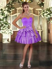 Nice Mini Length Lace Up Prom Gown Purple for Prom and Party with Ruffled Layers