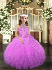 Custom Designed Lilac Tulle Lace Up Little Girls Pageant Gowns Sleeveless Floor Length Beading and Ruffles