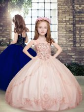 Pink Sleeveless Floor Length Beading Lace Up Little Girls Pageant Dress Wholesale
