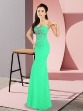 Exceptional Turquoise Column/Sheath Beading Prom Party Dress Zipper Chiffon Sleeveless Floor Length