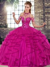 Most Popular Floor Length Ball Gowns Sleeveless Fuchsia Sweet 16 Quinceanera Dress Lace Up