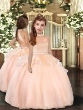Eye-catching Beading Pageant Dresses Peach Backless Sleeveless Floor Length