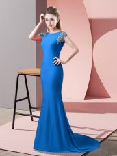 Blue Short Sleeves Beading Backless Evening Party Dresses