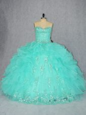 Sweetheart Sleeveless Lace Up Ball Gown Prom Dress Aqua Blue Organza