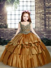 Custom Design Brown Ball Gowns Taffeta Straps Sleeveless Beading Floor Length Lace Up Kids Formal Wear