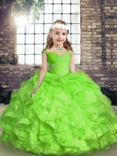 Nice Sleeveless Floor Length Beading and Ruffles and Ruching Lace Up Little Girl Pageant Gowns with