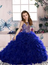 High Class Royal Blue Scoop Lace Up Beading and Ruffles Kids Pageant Dress Sleeveless