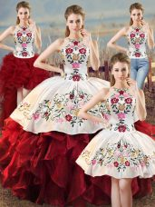 Noble Halter Top Sleeveless Organza Sweet 16 Quinceanera Dress Embroidery and Ruffles Lace Up