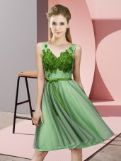 Latest Apple Green V-neck Lace Up Appliques Wedding Guest Dresses Sleeveless