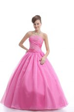 Modest Rose Pink Strapless Lace Up Embroidery Sweet 16 Quinceanera Dress Sleeveless