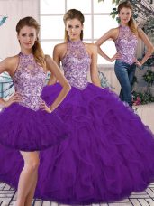 Noble Purple Three Pieces Beading and Ruffles Sweet 16 Quinceanera Dress Lace Up Tulle Sleeveless Floor Length