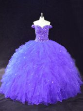 Deluxe Purple Off The Shoulder Neckline Beading Quinceanera Dress Sleeveless Lace Up