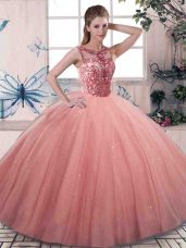 Scoop Sleeveless Quinceanera Dress Floor Length Beading Watermelon Red Tulle
