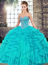 Glorious Aqua Blue Ball Gowns Sweetheart Sleeveless Tulle Floor Length Lace Up Beading and Ruffles Quince Ball Gowns