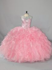 Floor Length Pink Quinceanera Dress Scoop Sleeveless Lace Up