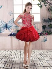 Inexpensive Red Lace Up Homecoming Dresses Beading and Ruffled Layers Sleeveless Mini Length