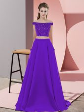 Glittering Elastic Woven Satin Off The Shoulder Sleeveless Sweep Train Backless Beading Prom Evening Gown in Purple